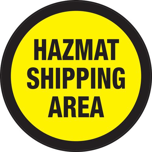 Hazmat Shipping Area (Yellow Circle) - Floor Sign