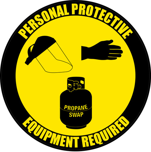 PPE Required - Face Protection, Gloves, Propane - Floor Sign