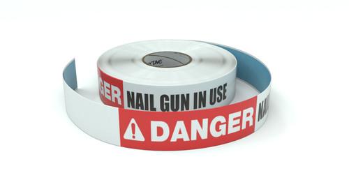 Danger: Nail Gun In Use - Inline Printed Floor Marking Tape