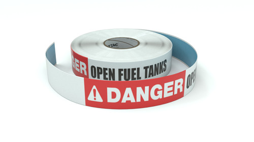 Danger: Open Fuel Tanks - Inline Printed Floor Marking Tape
