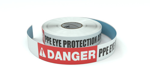 Danger: PPE Eye Protection Area - Inline Printed Floor Marking Tape