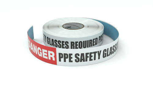 Danger: PPE Safety Glasses Required Past This Point - Inline Printed Floor Marking Tape