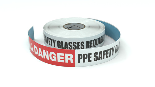Danger: PPE Safety Glasses Required In Area - Inline Printed Floor Marking Tape