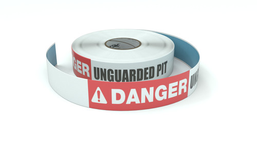 Danger: Unguarded Pit - Inline Printed Floor Marking Tape