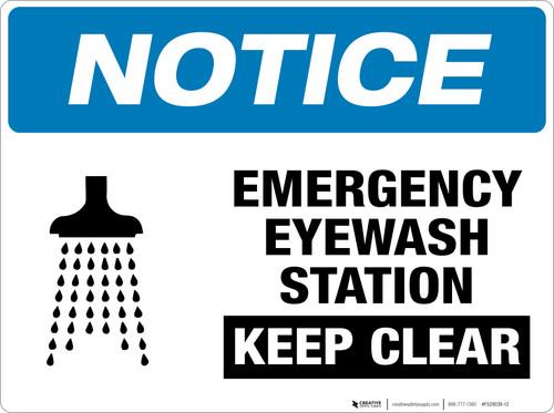 Notice: Emergency Eyewash Station - Keep Clear - Floor Sign