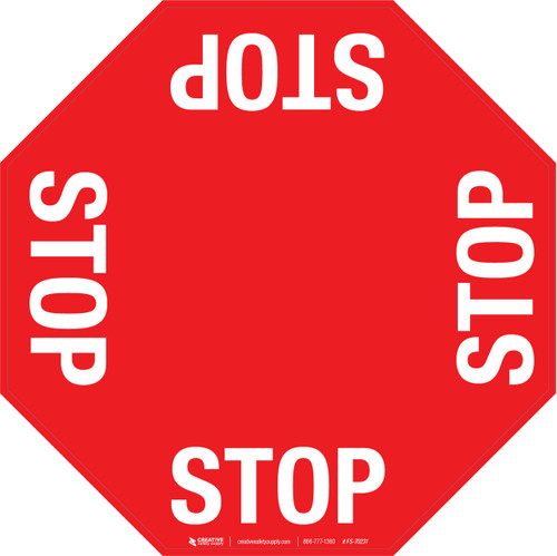 4 Way Stop Floor Sign