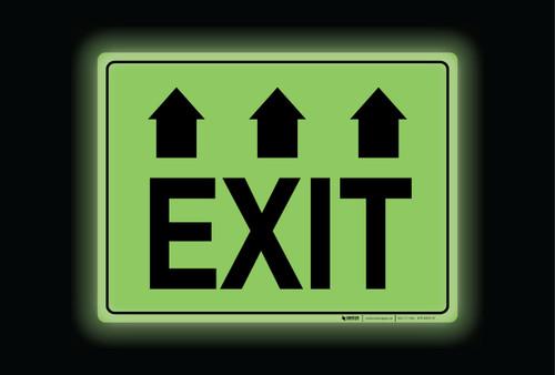 Glow: Exit Arrows Up (Rectangle) - Floor Sign