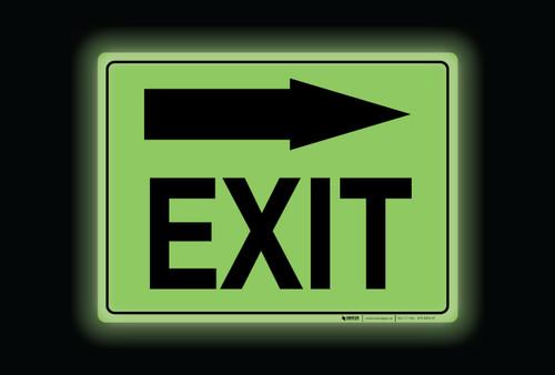 Glow: Exit Arrow Right (Rectangle) - Floor Sign