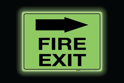Glow: Fire Exit Arrow Right (Rectangle) - Floor Sign