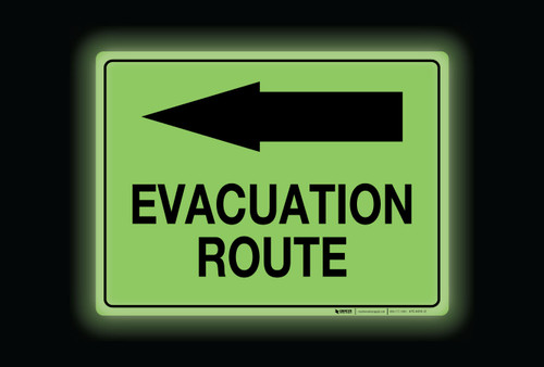 Glow: Evacuation Route Arrow Left (Rectangle) - Floor Sign