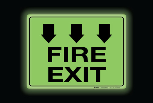 Glow: Fire Exit Arrows Down (Rectangle) - Floor Sign