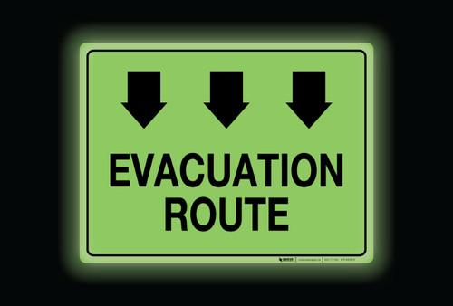 Glow: Evacutation Route Arrows Down (Rectangle) - Floor Sign