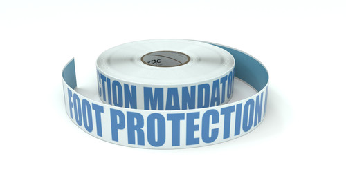ANSI: Foot Protection Mandatory Beyond This Point - Inline Printed Floor Marking Tape