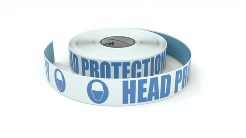 ANSI: Head Protection Mandatory - Inline Printed Floor Marking Tape
