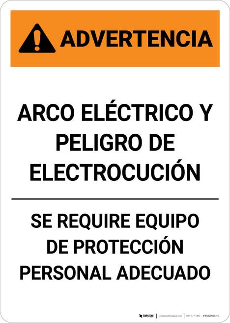 Warning: Arc Flash Shock Hazard - PPE Required Spanish - Portrait Wall Sign