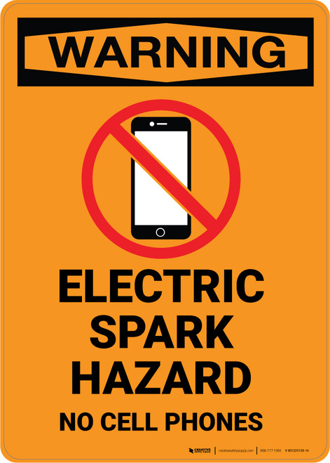 Warning: Electric Spark Hazard No Cell Phones with Icon - Portrait Wall Sign