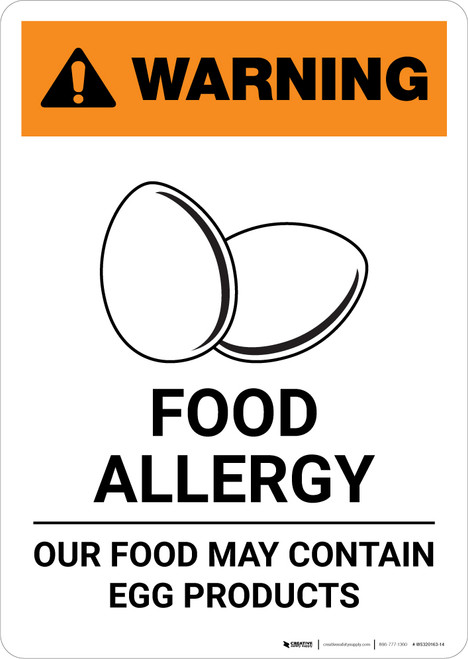 Warning: Food Allergy - Food May Contain Egg with Icon - Portrait Wall Sign