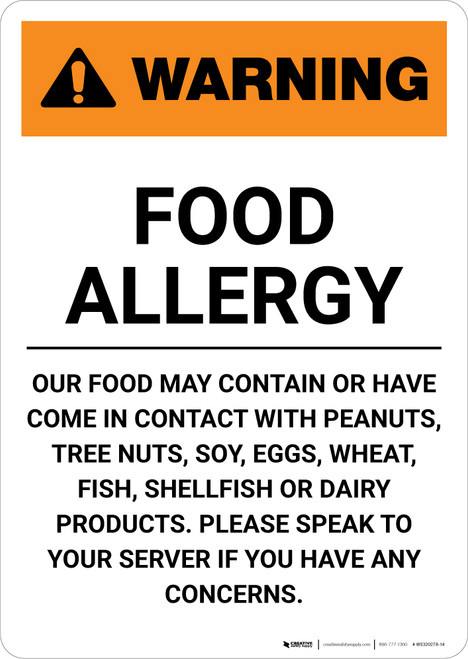 Warning: Food Allergy - Please Speak to Your Server if You Have Any Concerns - Portrait Wall Sign