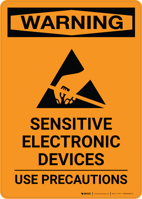 Warning: Sensitive Electronic Devices - Use Precautions - Portrait Wall Sign