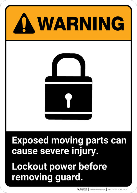 Warning: Lockout Power Before Removing Guard ANSI - Portrait Wall Sign