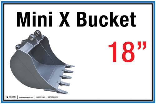 "Wall Sign: (United Rentals Logo) Mini X Bucket 18"" - 12""x18"" (Peel-and-Stick Permanent Adhesive)"