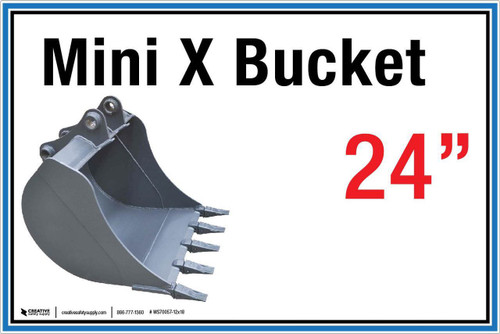 "Wall Sign: (United Rentals Logo) Mini X Bucket 24"" - 12""x18"" (Peel-and-Stick Permanent Adhesive)"