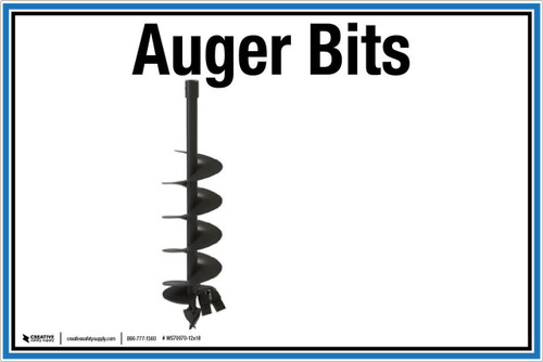 "Wall Sign: (United Rentals Logo) Auger Bits - 12""x18"" (Peel-and-Stick Permanent Adhesive)"