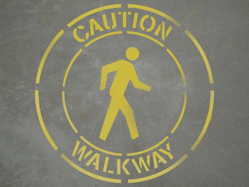 "Caution: Walkway - 24"" x 24"" stencil"