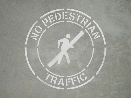 "No Pedestrian Traffic - 24"" x 24"" stencil"