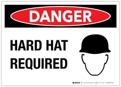 Danger: Hard Hat Required - Label