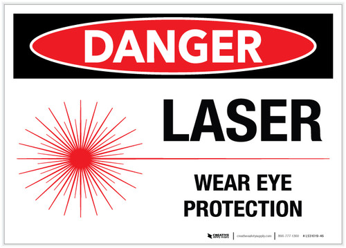 Danger: Laser Wear Eye Protection with Graphic - Label