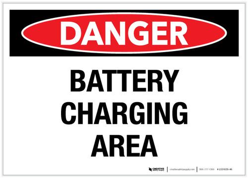 Danger: Battery Charging Area - Label