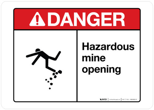 Danger - Hazardous Mine Opening - Wall Sign