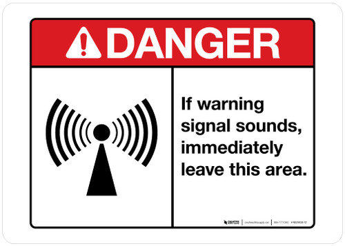 Danger - If Warning Signal Sounds - Mining Safety Wall Sign