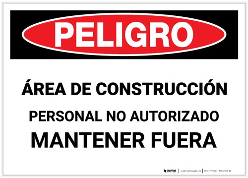 Danger: Construction Area/Authorized Personnel Only - Hard Hat Required (Spanish) - Label