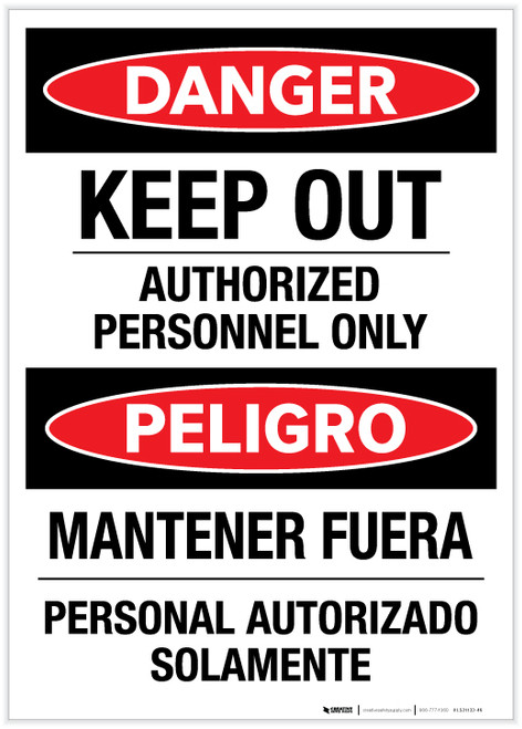 Danger: Keep Out - Authorized Personnel Only (Spanish Bilingual) - Label