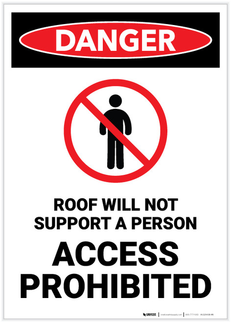 Danger: Roof Will Not Support a Person/Access Prohibited - Label