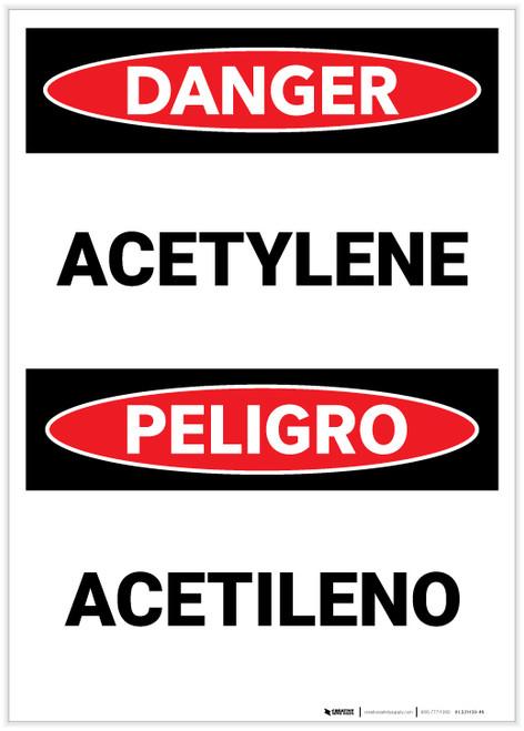 Danger: Acetylene (Bilingual Spanish) - Label