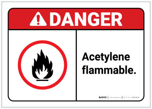 Danger: Acetylene Flammable ANSI - Label