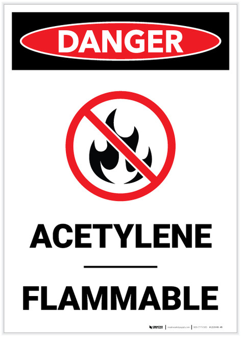 Danger: Acetylene Flammable Portrait with Graphic - Label