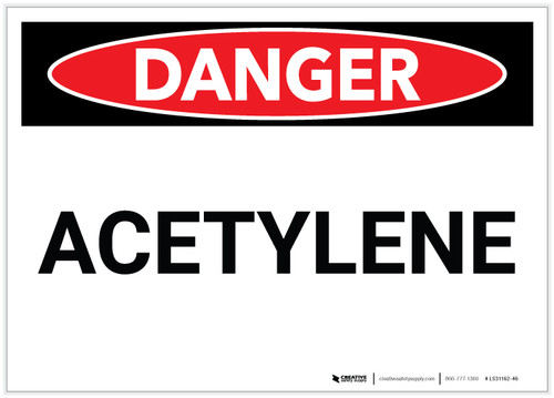 Danger: Acetylene - Label
