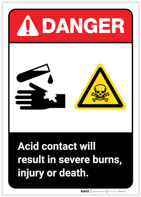 Danger: Acid Contact Will Result in Severe Burns ANSI Portrait - Label
