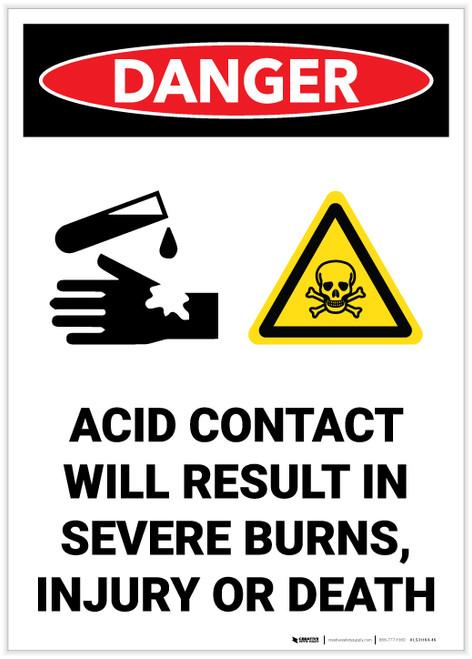 Danger: Acid Contact Will Result In Severe Burns - Label