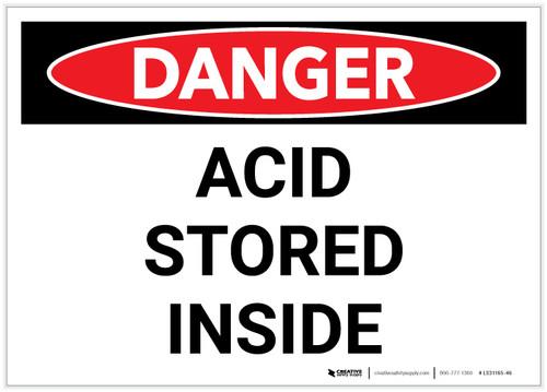 Danger: Acid Storage Inside - Label