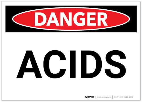 Danger: Acids - Label