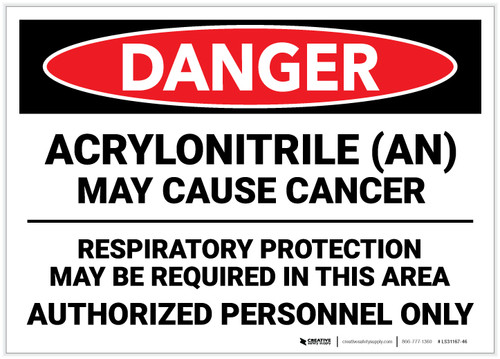 Danger: Acrylonitrile May Cause Cancer - Label