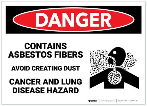 Danger: Asbestos Fibers Avoid Creating Dust - Label