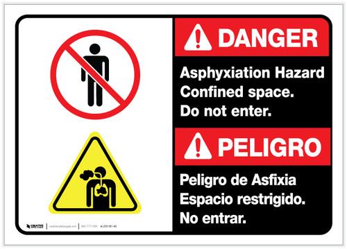 Danger: Bilingual Asphyxiation Hazard Confined Space ANSI - Label
