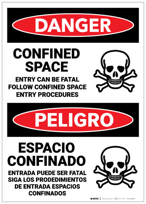 Danger: Bilingual Confined Space Entry Can Be Lethal - Label