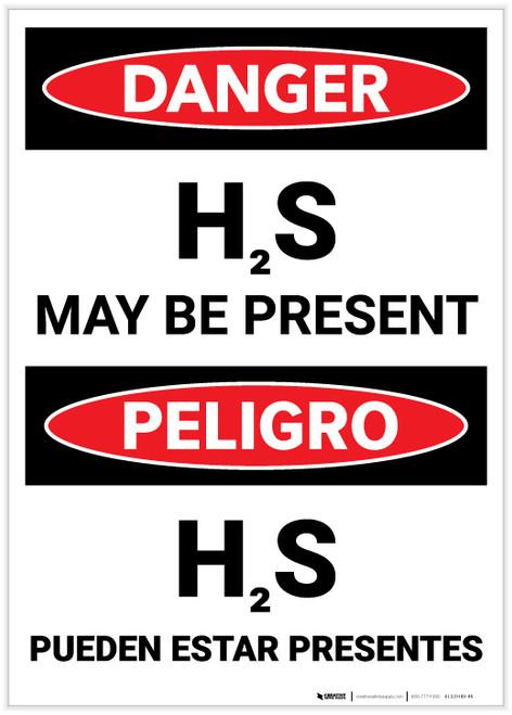 Danger: Bilingual Hydrogen Sulfide May Be Present - Label